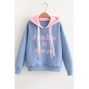 Stylish Long Sleeve Letter Ribbon Pattern Cotton Thick Hoodie