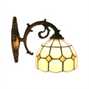 Dome Wall Sconce Industrial Tiffany Style Stained Glass Wall Light in Blue/Yellow
