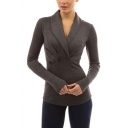 Women's New Arrival Fashion Lapel V-Neck Long Sleeve Button Embellished Slim Fitted T-Shirt