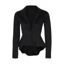 Chic Slim Plan Notched Lapel Collar Single Button Long Sleeve High Low Asymmetric Blazer