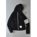 Trendy White Striped Print Long Sleeve Casual Zip Up Hoodie