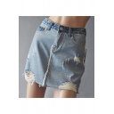 Stylish Ripped Detail Frayed Hem Distressed Mini Reverse Blue Denim Skirt