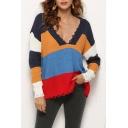 Trendy Long Sleeve V-Neck Frayed Hem Colorblock Loose Cozy Sweater