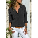 Basic Long Sleeve Lapel Collar Plain Button Down Chest Pockets Shirt