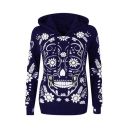 Fashion Long Sleeve Skull Floral Printed Leisure Hoodie