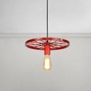 Wheel Shape Suspended Light Colorful Industrial Iron 1-Light Pendant Lamp for Restaurant