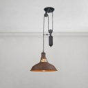 Adjustable Barn Suspended Light Retro Style Aged Iron Pendant Lamp for Coffee Shop
