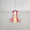 Metal Frame Hanging Light Industrial Colorful Single Head Drop Light with Butterfly Decoration