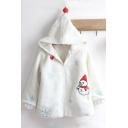Cute Snowman Heart Printed Long Sleeve Pom Pom Embellished Hooded Coat