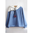 Lovely Colorblock Cute Cartoon Embroidered Long Sleeve Casual Hoodie