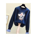 Crewneck Long Sleeve Cartoon Dog Printed Casual Sweatshirt