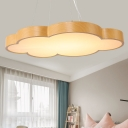 Wood Grain Cloud LED Pendant Lights Nordic Style Acrylic 1 Light Hanging Pendant Warm White Light