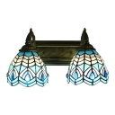 Nautical Tiffany Dome Wall Sconce Stained Glass 2 Bulbs Wall Mount Fixture in Aqua