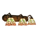 Stained Glass Floral Wall Light Tiffany Style 3 Heads Accent Sconce Lighting in Brass Finish