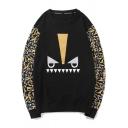 Cotton Black Cartoon Print Round Neck Long Sleeves Pullover Sweatshirt