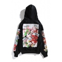 Black Cotton Floral Print Back Long Sleeves Pullover Hoodie