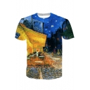 3D Oil Painting Print Short Sleeve Crew Neck Unisex Tee