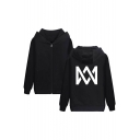 Black Cotton Print Zip Up Long Sleeve Welt Pocket Hoodie