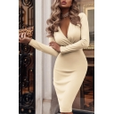 New Fashion Plain V Neck Long Sleeve Midi Wrap Dress
