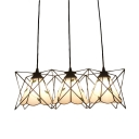 Leaf Design Hanging Light Tiffany Style White Glass 3 Lights Pendant Light with Metal Cage