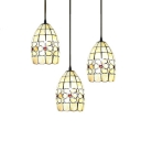 3 Lights Floral Drop Light Tiffany Retro Style Adjustable Shelly Pendant Light in Beige