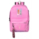 Retro Pink Graphic Print Chain Zippered Backpack Bag for Students