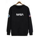 American Flag Letter NASA Printed Round Neck Long Sleeve Casual Sweatshirt