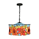 3 Light Sunflower Ceiling Pendant Light Tiffany Stained Glass Hanging Light in Multi Color
