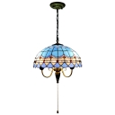 3 Light Dome Hanging Light Tiffany Mediterranean Style Glass Drop Light in Blue with Pull Chain