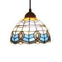 Baroque Tiffany Dome Suspended Light Stained Glass 1 Bulb Accent Hanging Light in Beige