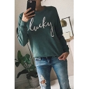 LUCKY Letter Printed Crewneck Long Sleeve Loose Casual Green Sweatshirt