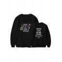 Hot Popular Letter WISH YOU WERE HERE Printed Round Neck Casual Loose Sweatshirt