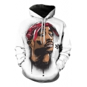 Fashion 3D Figure Printed Long Sleeve White Regular Fitted Hoodie