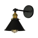 1 Bulb Conical Mini Wall Light Retro Style Steel LED Wall Sconce in Brass for Living Room