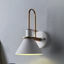 1 Head Funnel Small Wall Lamp Modern Steel Decorative Sconce Lighting in White for Bedside