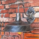 Old Satin Brass Armed Wall Sconce Industrial Style  Iron 1 Bulb Lighting Fixture for Hallway