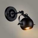 Rotatable 1 Head Ball Wall Lamp Industrial Small Iron LED Wall Light Fixture in Black