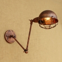 Metal Cage Dome Sconce Light Retro Style Adjustable Metal 1 Head Wall Mount Fixture in Rust