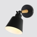 Coolie Shade Wall Mount Light Retro Style Rotatable Metal Single Bulb Wall Sconce in Black