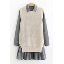 Lapel Collar Long Sleeve Stripes Button Front Shirt Dress Knit Sleeveless Kin Vest Sweater Co-ords