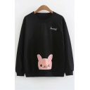 Letter HAPPY Cartoon Cat Bunny Embroidered Long Sleeve Round Neck Sweatshirt