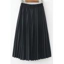 Fresh Plain Elastic Waist Stylish Midi Pleated Skirts