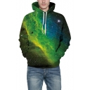 Digital 3D Galaxy Long Sleeve Unisex Cozy Oversize Green Hoodie