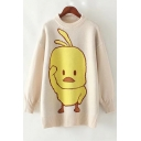 Lovely Cartoon Social Duck Pattern Crewneck Long Sleeve Tunic Sweater