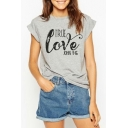 Letter TRUE LOVE Pattern Crewneck Short Sleeve Gray Cotton T-Shirt