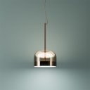 Rose Copper Dome Shade Suspension Post Modern Glass and Metal Single Hanging Lamp in White Light