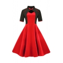 New Stylish Stand Collar Short Sleeve Color Block Midi Fit and Flared Dress