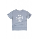 I'M SO FREAKING COLD Letter Printed Short Sleeve Round Neck Leisure Top