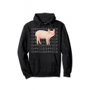 New Arrival Funny Letter Pig Pattern Long Sleeve Loose Casual Hoodie