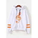 Fashion Musical Note Print Striped Long Sleeve Relaxed Hoodie